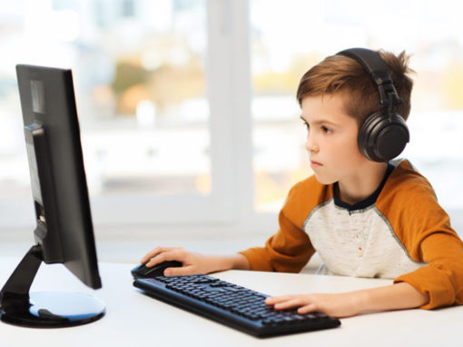 Boy working at the computer